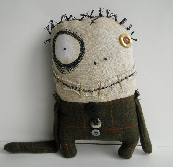 Junker Jane sewn monster-like doll with a big googly eye