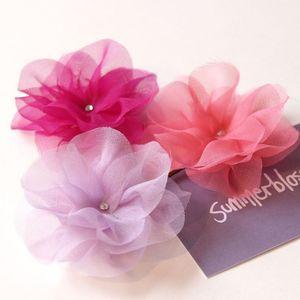 Silk... okay maybe chiffon... flower hairpins in a set of three