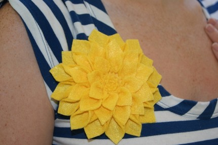 Large yellow fabric flower brooch