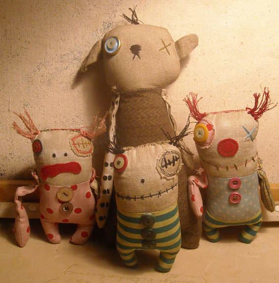 Group of four Junker Jane sewn monster-like dolls