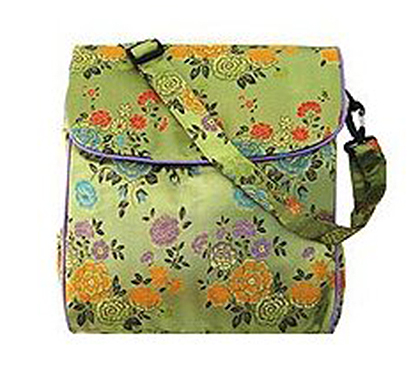 Shoulder bag—silk chartreuse background with colourful silk flowers on it.