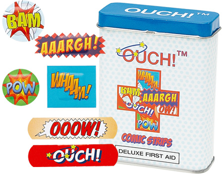 Bandaids with comic strip OUCH, AAARGH! type comments on them