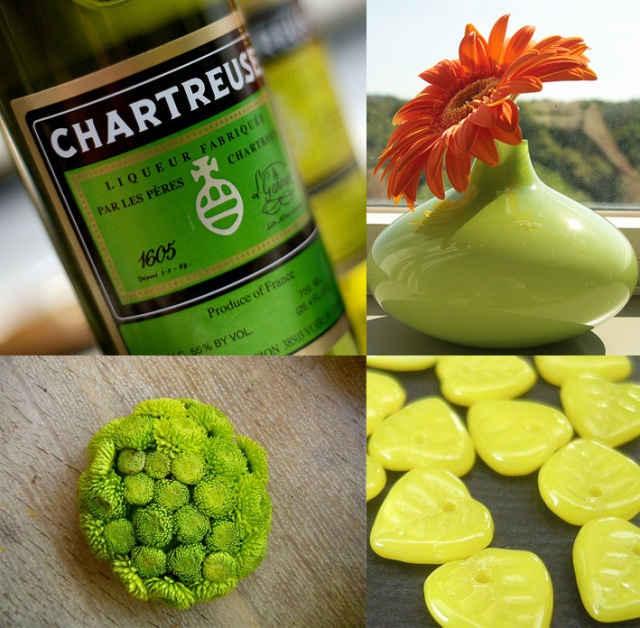 Four images showing chartruese colour