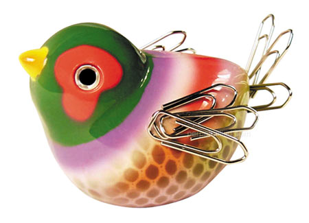 Colourful bird paperclip holder, paperclips become the wings and the tail