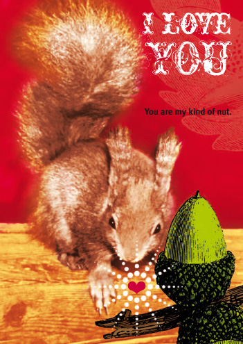 "Greeting card with a squirrel on it: ""You are my kind of nut"""