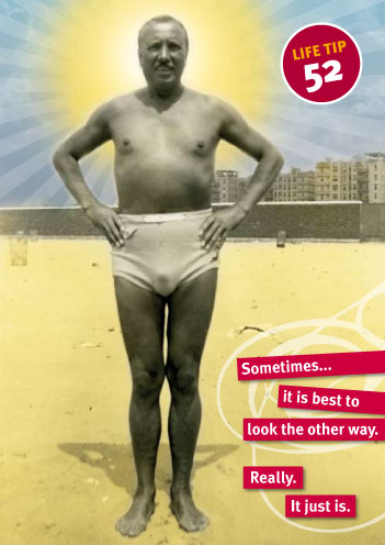 Card with image of man in cloth swim trunks—Sometimes it's best to look the other way
