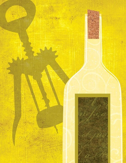 Painting of wine bottle & corkscrew on textured charteuse background