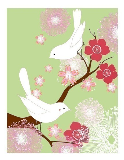 Print in green & pinks with two white lovebirds
