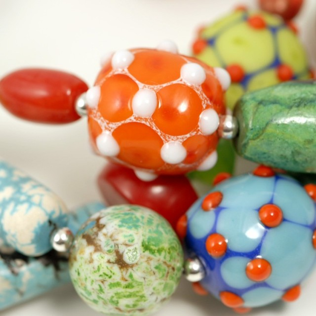 Handmade glass beads, closeup of necklace