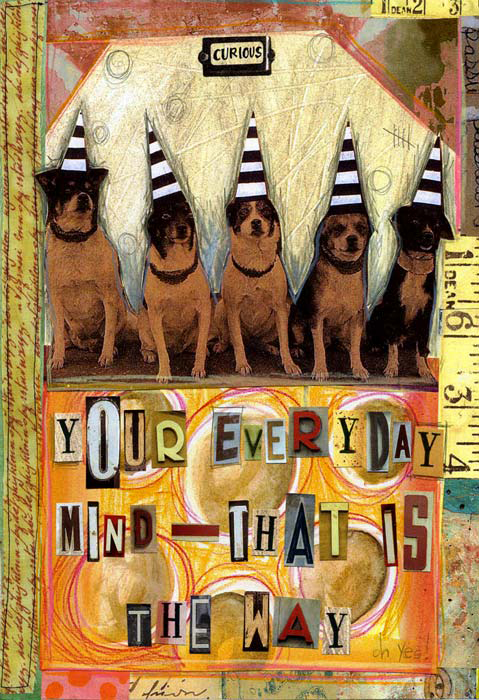Journal page by Teesha Moore—five little dogs in stripy pointed hats.