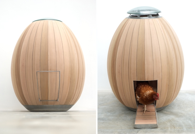 Insanely designed hen house that looks like a big wooden egg