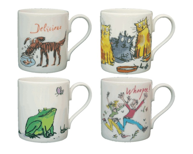 Four mugs by illustrator Quentin Blake