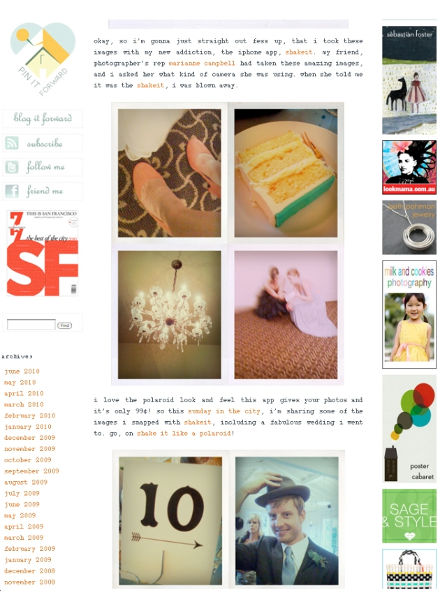 Screen capture of a page from SFGIRLBYBAY blog