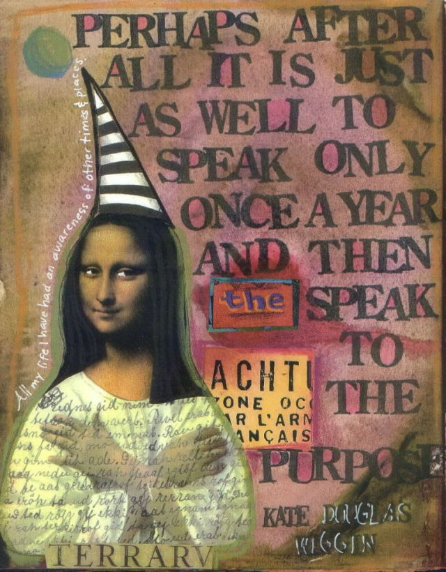 Journal page by Teesha Moore—Mona Lisa in pointy hat. Stripy too.