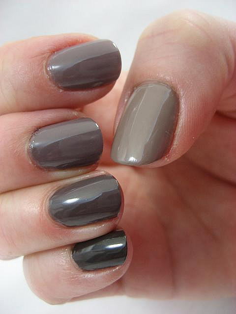 Taupe painted fingernails