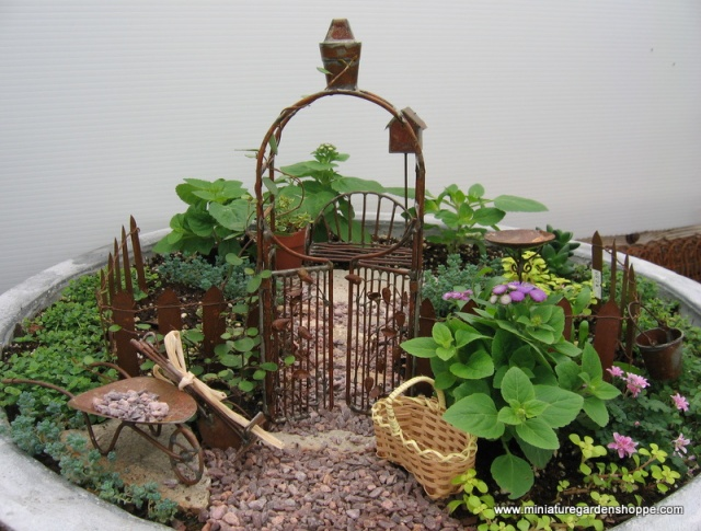 miniature garden with ornaments