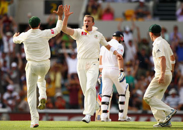 SIDDLE takes hat trick in  the Ashes