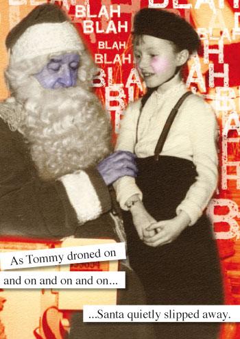 Look Mama! Christmas card featuring a dead Santa