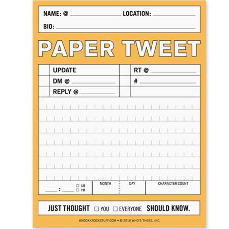 Paper tweet notepad
