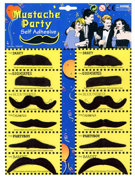 Self adhesive fake moustaches