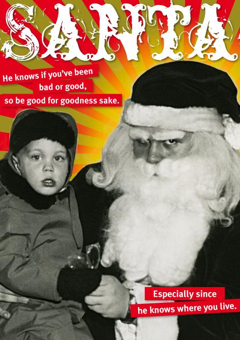 Look Mama! Christmas card, evil Santa