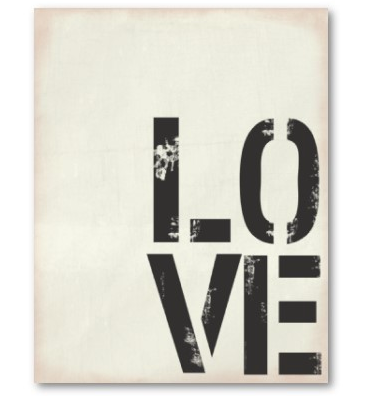 Print with word LOVE on it, grungy black on white