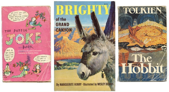 Puffin Joke Book, Brighty of the Grand Canyon, The Hobbit — old book covers