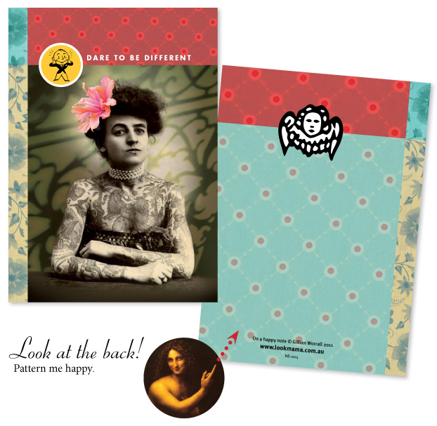Look Mama notebook, tattooed lady