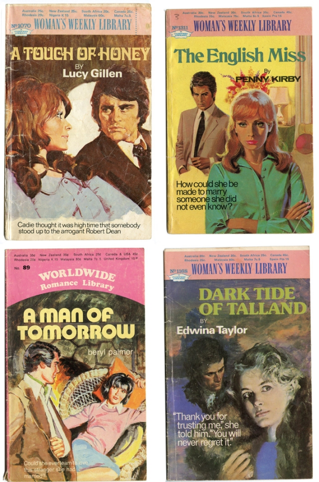 Group of old romance books