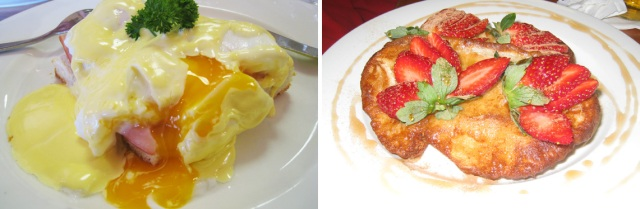 Eggs Benedict and French toast with strawberries