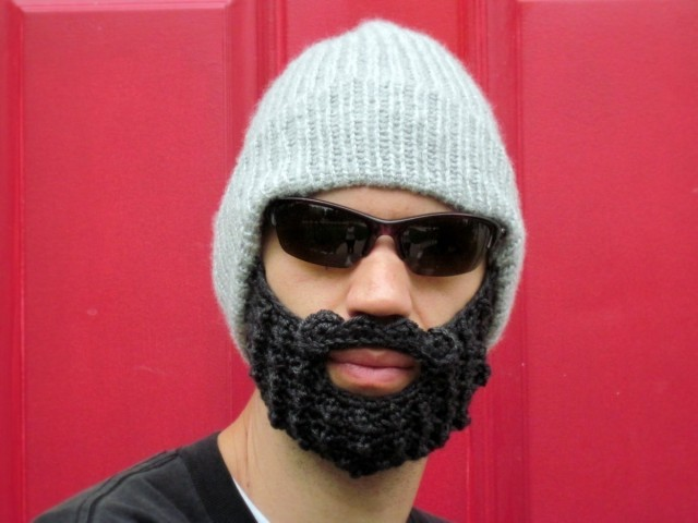 Beanie with attached crocheted beard