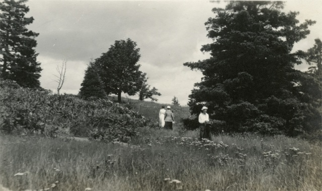 Walking up a grassy hill in the country. Very old photo.