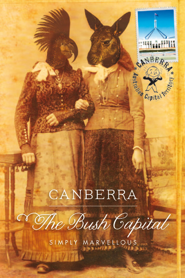Look Mama! postcard promoting Canberra as the Bush Capital (people with animal heads)