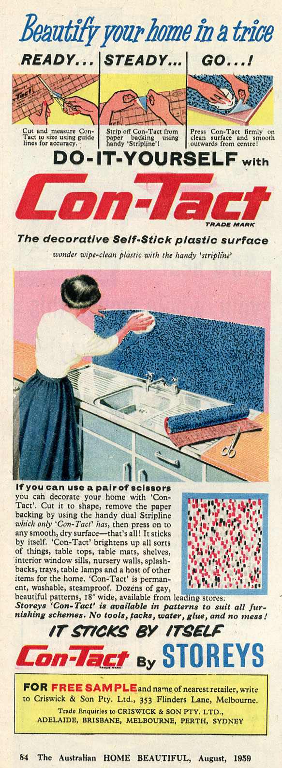 Magazine ad from 1959 extolling virtues of sticky ConTact for home decorating