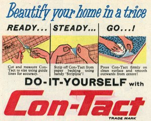SEction of 1959 ad selling ConTact as home decorating tool