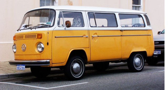 Orange Kombi van