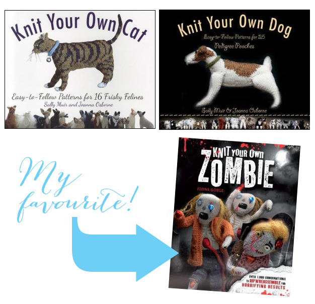 Three books to help you knit your own... CAT, DOG, ZOMBIE