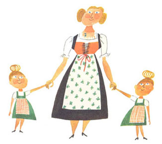 Illustration of a mother and kids by Miroslav Sasek