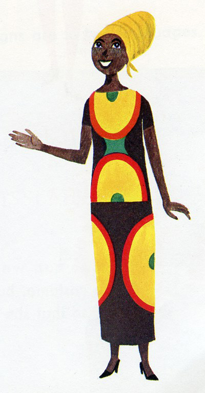 Illustration of an African woman at the UN by Miroslav Sasek