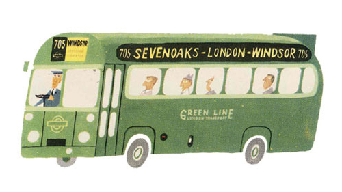 Illustration of a London green bus by Miroslav Sasek