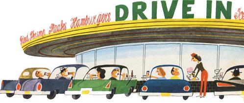 Illustration of a diner by Miroslav Sasek