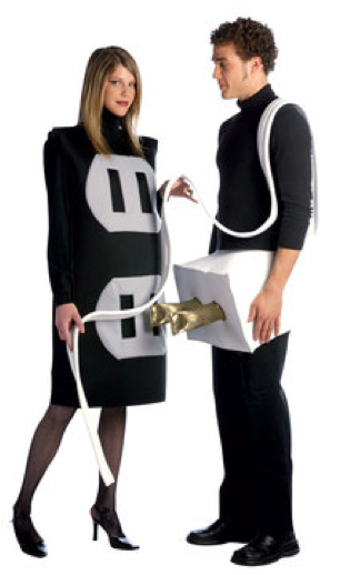 Mental dress ups.  Couple dressed as plug and socket.