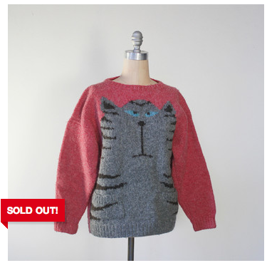 Sweater with a funny cat on it