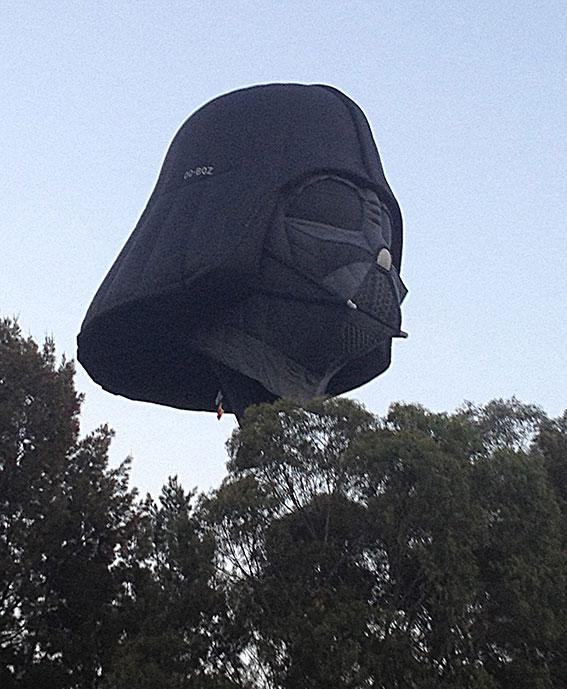Darth Vader's head as a giant hot air balloon