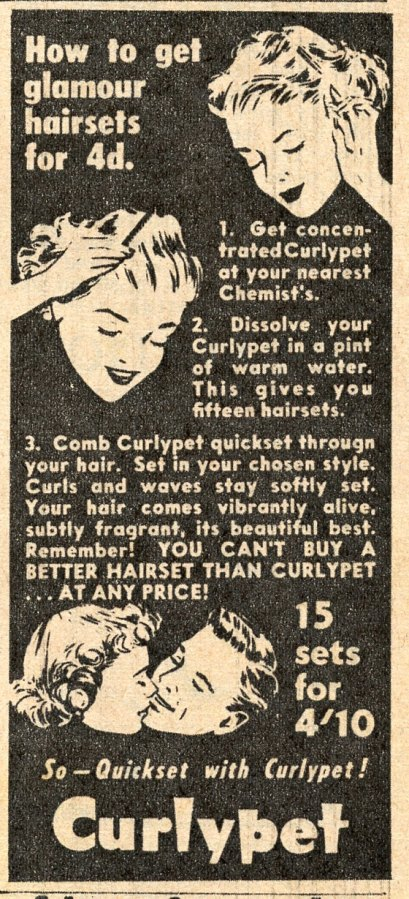 Ad for hair curling chemicals